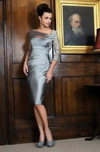 Sheath 3-4 Length Sleeve Knee-length Bateau Satin Lace Mother of the Bride Dress with Zipper Back