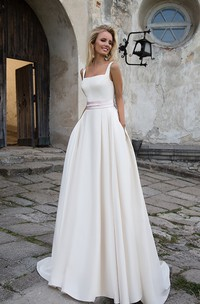 Simple Satin A-line Sleeveless Wedding Dress with Sash