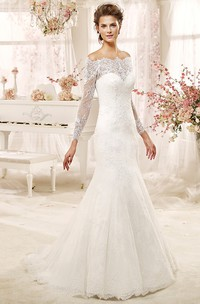 Off-the-shoulder Lace Long Sleeve Mermaid Wedding Dress With Illusion