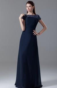 Pleated-Sleeve Crystal Bateau-Neckline Floor-Length Dress