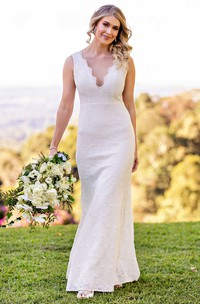 Casual Scalloped Sheath Lace Floor-length Sleeveless Deep-V Back Wedding Dress