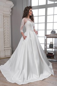 A-Line Floor-Length Scoop 3-4-Sleeve Illusion Satin Dress With Appliques