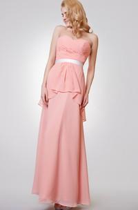 Sweetheart Backless Ruched A-line Long Chiffon Dress