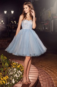 A-Line Appliqued Criss Cross Short Mini Tulle Strapless Backless Dress
