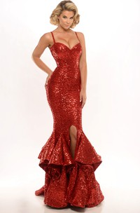 flamboyant Spaghetti fishtail Sequined Dress With Split Front And falbala