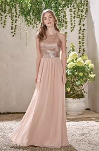 A-line Sleeveless Floor-length Halter V-neck Chiffon Sequins Bridesmaid Dress with Zipper Back