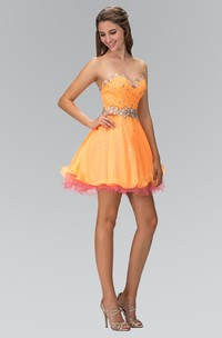 Muti-Color A-Line Mini Sweetheart Sleeveless Dress With Beading And Ruffles
