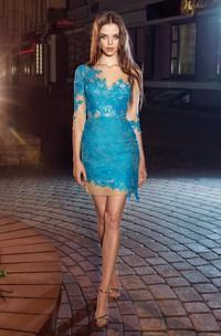 Pencil Mini Bateau Half Sleeve Lace Illusion Dress With Appliques