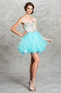 A-Line Backless Ruffled Jeweled Mini Sweetheart Sleeveless Strapless Tulle Dress