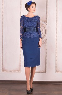 Scoop-neck Pencil Long Sleeve Lace Dress With Appliques And tiers