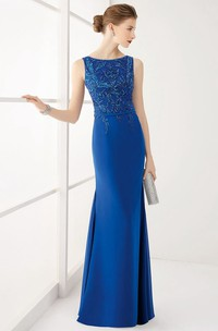 Sheath Scoop-neck Sleeveless Jersey Dress With Crystal Detailing