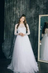 Lace Illusion Wedding Tulle Long-Sleeve Satin Dress