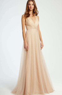 Plunged Sleeveless Tulle Floor-length Bridesmaid Dress With Ruching
