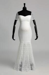 Mermaid Lace Off-the-shoulder Floor-length Short Sleeve Pleats Maternity Wedding Dress