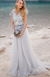 Real Bride Photos Grey Wedding Dress