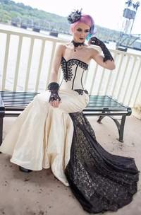Sweetheart Mermaid Sleeveless Taffeta Lace Floor-length Sweep Train Wedding Dress with Corset Back