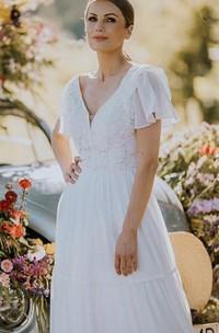 Bohemian Short Sleeve V-neck Lace A Line Floor-length Wedding Dress with Ruffles