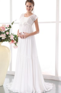 Soft Floral Waistband Pleated Chic Flowy-Fabric Gown