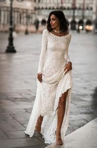 Elegant Lace Sheath Scoop Neck Long Sleeves Wedding Dress