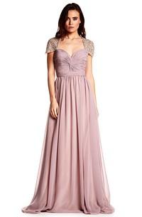 Cap Sleeve Ruched Sweetheart Chiffon Prom Dress