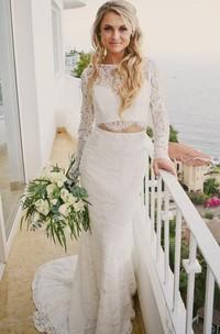 Romantic Modern Long Sleeve Lace Bateau Floor-length Two Piece Wedding Dress