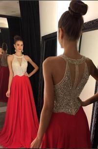 Long Chiffon Crystals Red Elegant Dress