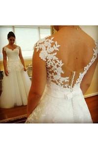 Lace Low-V Back Cap Sleeves V-Neckline Elegant Gown