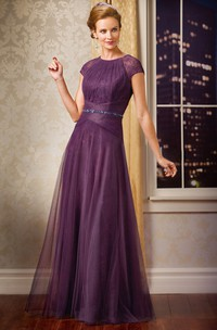 Jewel-Neck Short Sleeve Lace Tulle Mother of the Bride Dress With Ruching And Beading