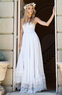 Elegant Spaghetti Strap Floor Length Chiffon Lace Wedding Dress