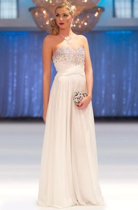 A-Line Floor-Length Sleeveless Beaded Sweetheart Chiffon Prom Dress With Pleats