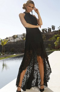 Casual Sexy Sleeveless Sheath Lace Halter Prom Dress with Beading