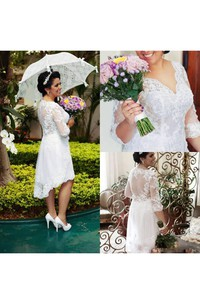 V-neck Lace Illusion 3/4 Length Sleeve Wedding Dress