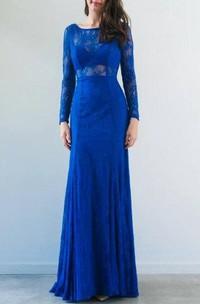 Bateau Lace Long Sleeve Sheath Dress With Pleats And Illusion