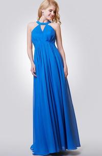 Halter A-line Long Chiffon Pleated Dress With Key-hole