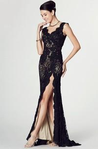 V-neck Sleeveless Lace Dress With Split Front
