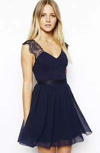 Cute Sexy Mini Skirt Chiffon Homecoming Dress With V-neck And Open Back