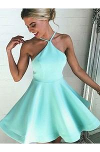 Sleeveless A-line Short Mini Halter Pleats Satin Homecoming Dress
