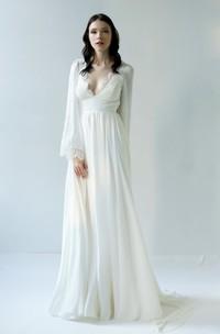 Sexy Sheath Chiffon Long Sleeve Deep-V Back Wedding Dress