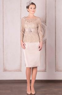 Bateau Lace Long Sleeve Knee-length Dress With Zipper