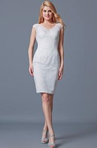 Midi-Length Cap-Sleeved V-Neckline Enchanting Lace Dress