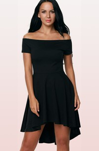 Off-the-shoulder Jersey Short Sleeve Short High-Low Cocktail Dress with Pleats