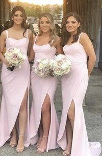 Simple Sweetheart Trumpt Bridesmaid Dress With Straps And Front Split And Ruching