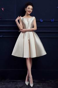 A-line Knee-length Bateau Sleeveless Satin Dress with Pleats