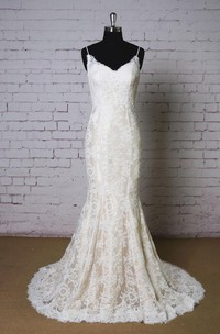 Wedding Champagne Underlay Lace Spaghetti-Strap Dress