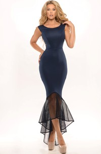 Scoop-neck Sleeveless Satin High-low fishtail Dress With Zipper