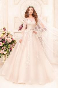 Long-Sleeve Appliqued Waist Jewellery Floor-Length A-Line Lace Dress