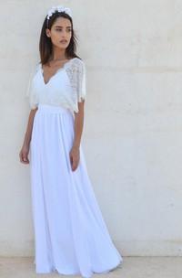 Cleavage Wedding V-Neckline Bohemian Lace-Sleeves Dress