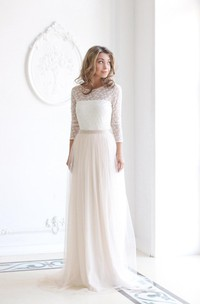 Tulle Lace Top Long-Sleeve Scoop-Neckline Wedding Gown