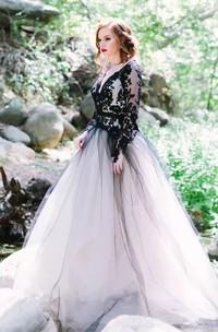 V-neck A-Line Long Sleeve Lace Tulle Floor-length Wedding Dress with Keyhole Back