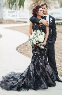 Bateau Mermaid Sleeveless Lace Floor-length Sweep Train Wedding Dress